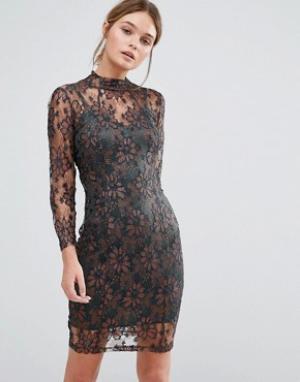 Body Frock Облегающее кружевное платье цвета металлик Leah. Цвет: коричневый