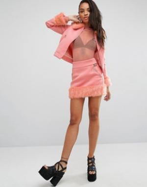SHADE London Комбинируемая мини-юбка с завышенной талией из комплекта. Цвет: розовый