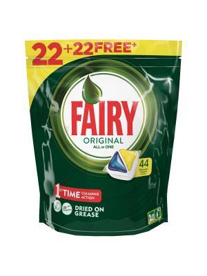 Средство для мытья посуды в капсулах посудомоечных машин Лимон 22+22шт бесплатно Fairy. Цвет: зеленый, белый