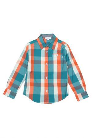 Рубашка Hugo Boss. Цвет: синий, оранжевый