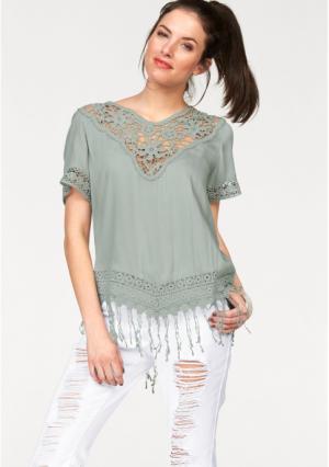 Кружевная блузка Aniston. Цвет: нежно-зеленый