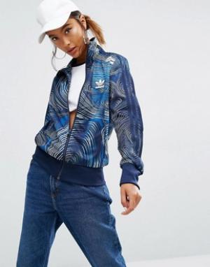 Adidas Спортивная куртка на молнии Originals Geology Firebird. Цвет: синий