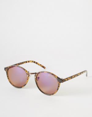 Black Phoenix Круглые солнцезащитные очки с синими стеклами. Цвет: коричневый