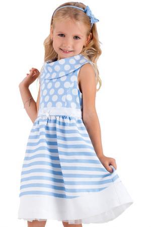 Платье Gulliver. Цвет: полоска, голубой в белый горох