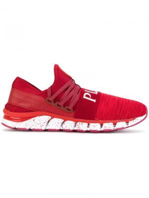 Трикотажные кроссовки Plein Sport. Цвет: красный
