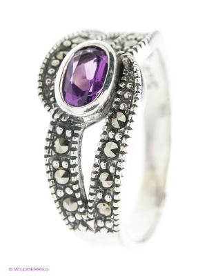 Кольцо МАРКАЗИТ. Цвет: серебристый, фиолетовый