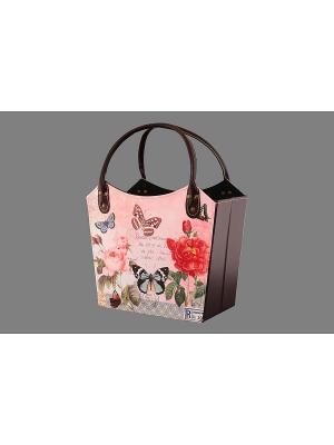 Газетница - сумочка складная Лето EL CASA. Цвет: розовый, зеленый, красный