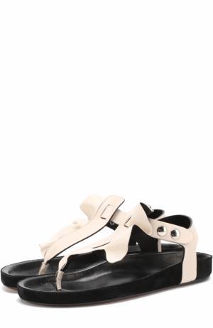 Кожаные сандалии с оборкой Isabel Marant. Цвет: кремовый