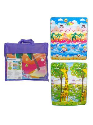 Коврик игровой для малышей  средний в сумке, двусторонний, рисунок пляж и жираф-ростомер 1toy. Цвет: зеленый, голубой