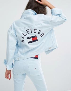 Tommy Jeans Спортивная куртка в стиле 90-х. Цвет: синий