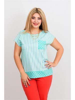 Блузка BALSAKO. Цвет: бирюзовый, белый