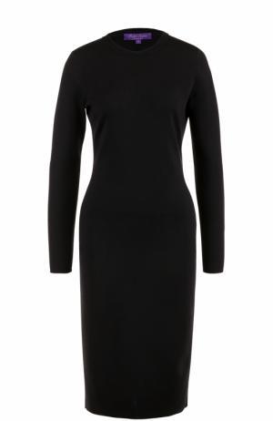 Шерстяное платье-миди с длинным рукавом Ralph Lauren. Цвет: черный