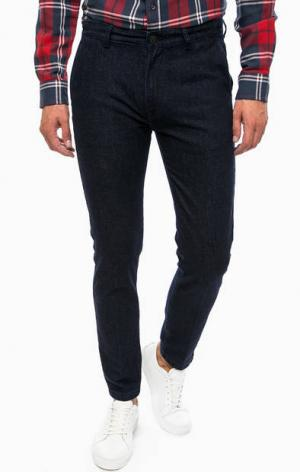 Синие хлопковые брюки на молнии Lee. Цвет: синий