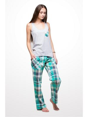 Пижама Косичкина. Цвет: зеленый, белый, желтый, серый, темно-серый