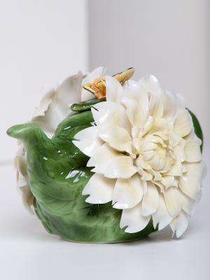 Заварочный чайник Хризантема Pavone. Цвет: зеленый, кремовый