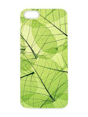 Чехол для iPhone 5/5s Кружевные листья Арт. IP5-032 Chocopony. Цвет: зеленый, черный