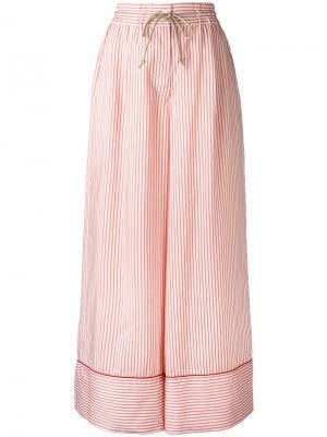 Широкие брюки с полоску Sacai. Цвет: телесный