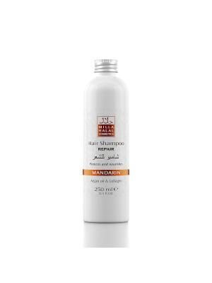 Шампунь для восстановления поврежденных волос с маслом аргании и коллагеном MANDARIN MILLA HALAL COSMETICS. Цвет: оранжевый, белый
