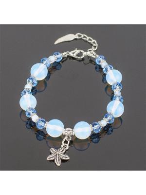 Браслет Сантия лунный камень, хрусталь Колечки. Цвет: голубой