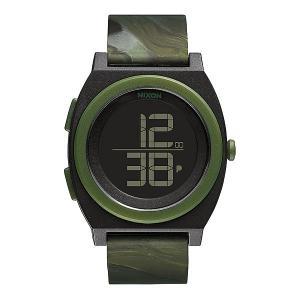 Часы  Time Teller Digi Marbled Camo Nixon. Цвет: зеленый,черный