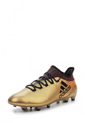 Бутсы adidas. Цвет: золотой