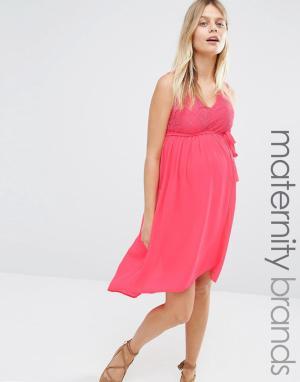 Mama.licious Платье для беременных с кружевным лифом Mamalicious Disa. Цвет: розовый