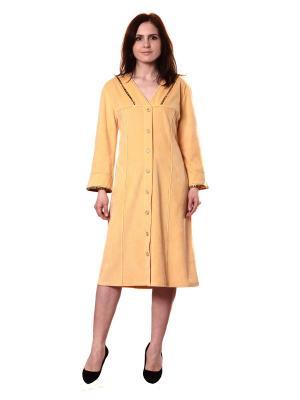 Велюровый халат Тефия. Цвет: бежевый