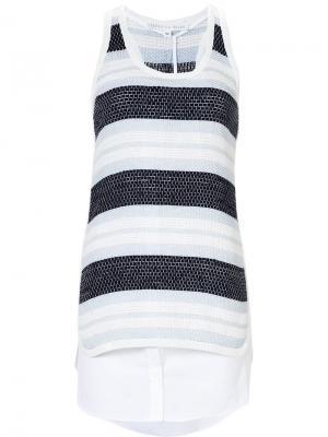 Многослойное платье в полоску Veronica Beard. Цвет: синий