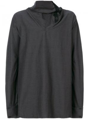 Рубашка с высоким воротником Alchemy. Цвет: серый
