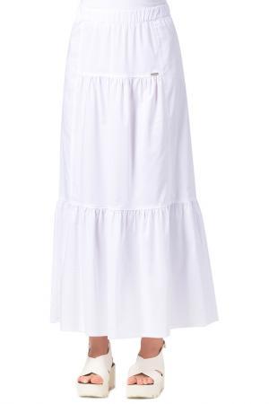 Длинная юбка с поясом на резинке Helmidge. Цвет: белый