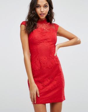 Lipsy Облегающее платье с высоким воротом. Цвет: красный