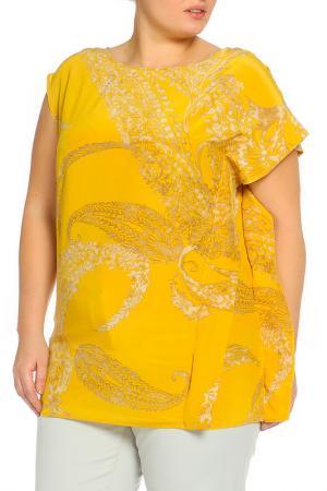 Рубашка-блузка Elena Miro. Цвет: желтый, бежевый, принт