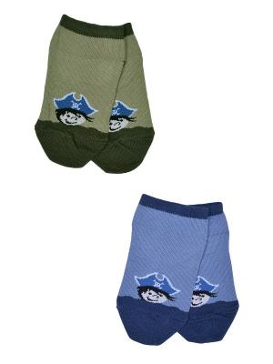 Носки, 2 пары Skinija. Цвет: синий, хаки