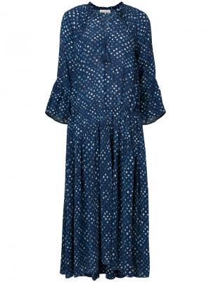 Платье в горох Ulla Johnson. Цвет: синий