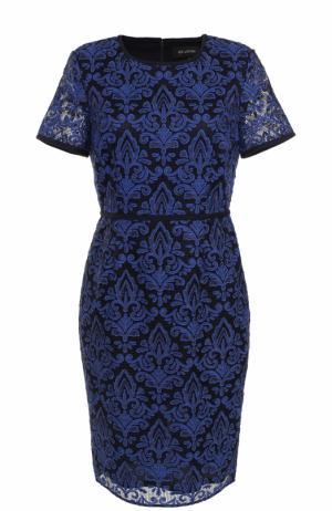 Кружевное приталенное платье-миди St. John. Цвет: темно-синий