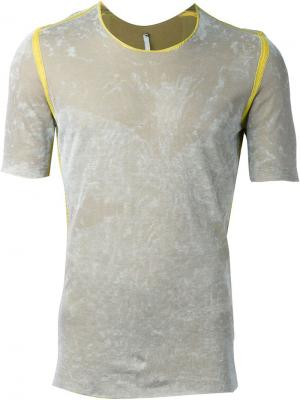 Приталенная футболка с контрастной окантовкой Label Under Construction. Цвет: серый