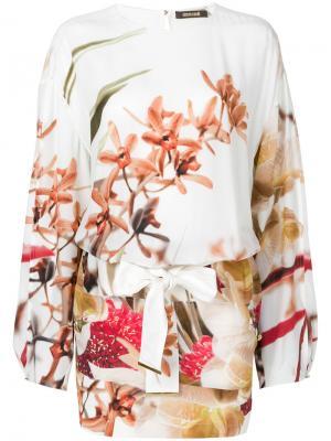 Короткое платье с длинными рукавами принтом Roberto Cavalli. Цвет: многоцветный