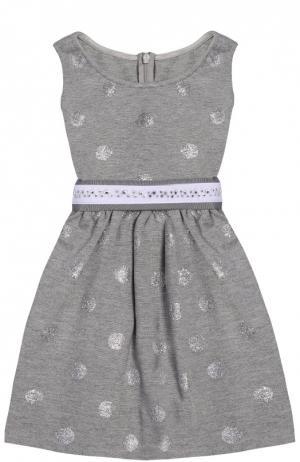 Платье джерси с декорированным поясом Monnalisa. Цвет: серый