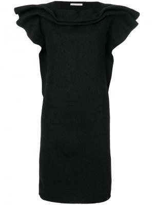 Платье с короткими рукавами и оборками Stefano Mortari. Цвет: чёрный