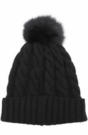 Кашемировая шапка фактурной вязки с меховым помпоном Kashja` Cashmere. Цвет: черный