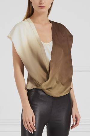 Шелковая блузка Donna Karan. Цвет: бежевый