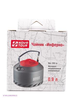 Чайник Инферно 0,9л Nova tour. Цвет: красный, серый