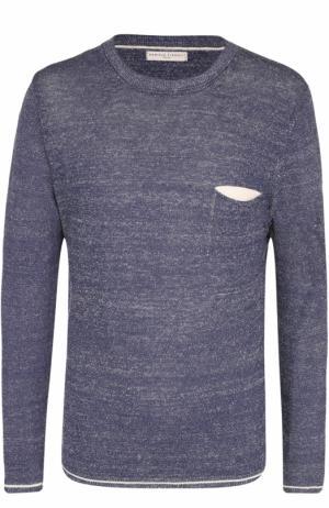 Льняной джемпер с нагрудным карманом Daniele Fiesoli. Цвет: темно-синий