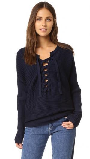 Рубчатый свитер со шнуровкой Designers Remix. Цвет: темно-синий