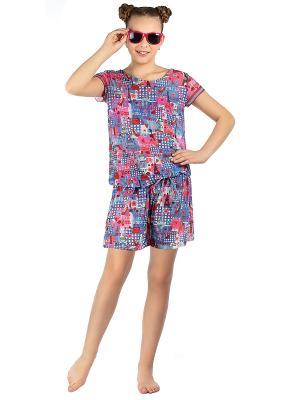 Пляжный комбинезон для девочек Arina. Цвет: голубой