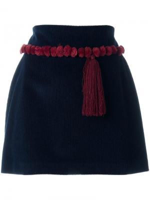 Мини-юбка с декоративной кисточкой Au Jour Le. Цвет: синий