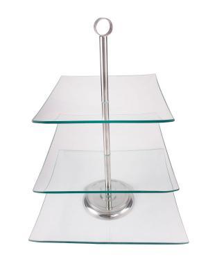 Трёх уровневая подставка для торта AMBITION. Цвет: прозрачный