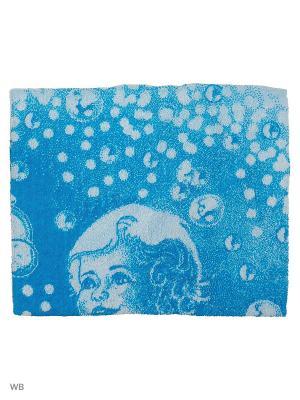 Полотенце махровое пестротканое жаккардовое Да здравствует мыло душистое Авангард. Цвет: синий, белый