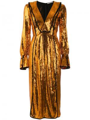 Платье с длинными рукавами и пайетками Marco De Vincenzo. Цвет: металлический