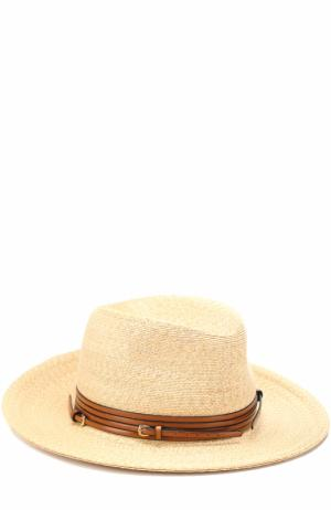 Соломенная шляпа с ремешком Philip Treacy. Цвет: бежевый